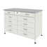 Cabinet with 2 drawers + 4 drawers + 4 drawers (grey laminate, white metal) 1200x600x850 mm