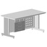 Teacher table with suspended cabinet and electrical equipment + slot 1500х750х760 mm (grey laminate)